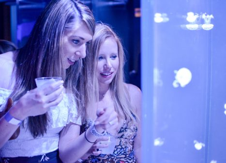 2 women look at jellyfish aquarium