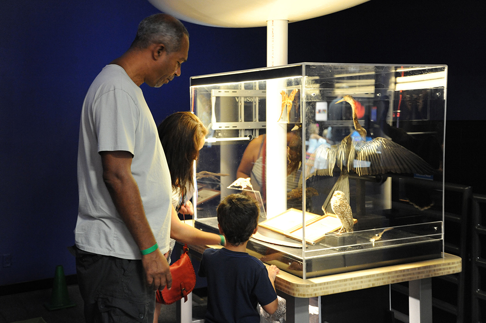 A diverse family stands together reading a plaque for a museum exhibit.