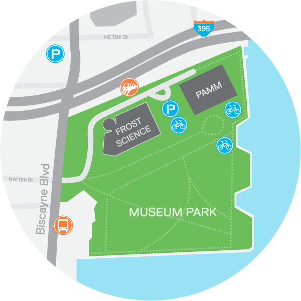 A map shows available parking for the museum, including accessible parking located at the museum garage with more parking available in a city lot across the street.