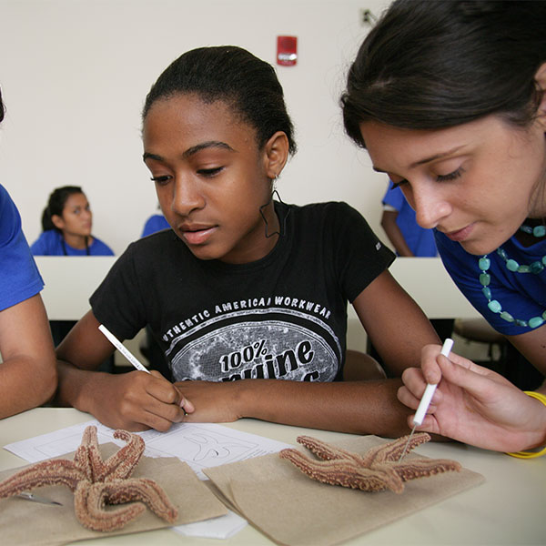 Two teens closely analyze the structure of a starfish.