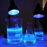 Beakers under black light