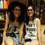Two young women at Books and Books located in Coral Gables.