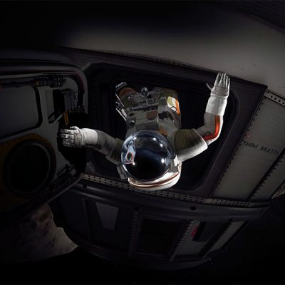 In a virtual simulation, an astronaut emerges from a spacecraft.
