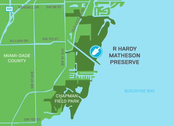 Map indicating location of the restoration site with respect to Miami-Dade County.