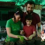 Rebecca Fiori, Thomas Fiori & Nico Fiori gardening