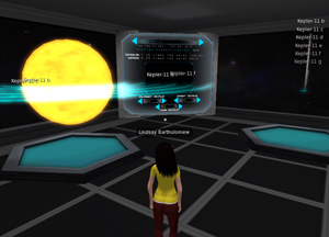 A 3D simulation of a woman looking on at information about expolanets.