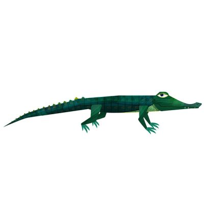 An illustrated Alligator smirks.