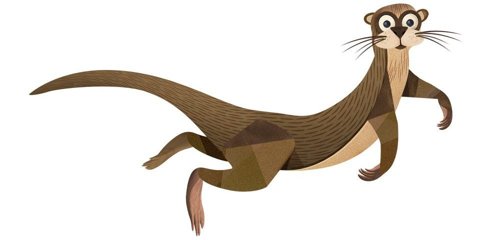 An illustrated River Otter looks playful.