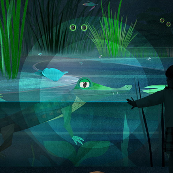 An illustratation of an alligator peeking above the waters at night in the Everglades.