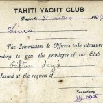 Tahiti Yacht Club Privileges certificate.