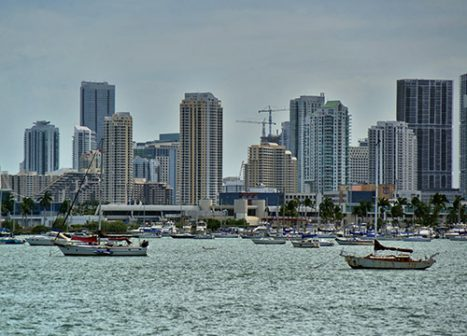 Boats line the shore of the Miami coast.