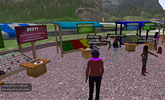 A character in a virtual simulation decides which healthy food truck to visit.