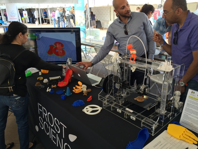 3-D Stuffmaker, engages guests at the Frost Science pavilion with demonstrations that involve their 3-D printer.