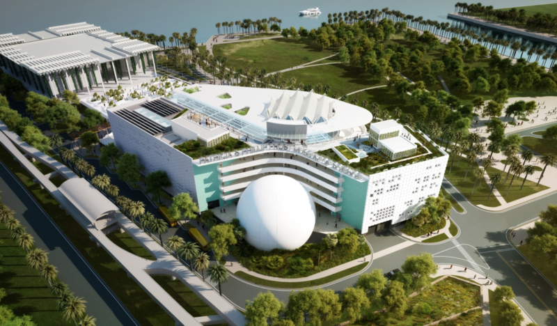 A rendering of the Patricia and Phillip Frost Museum of Science