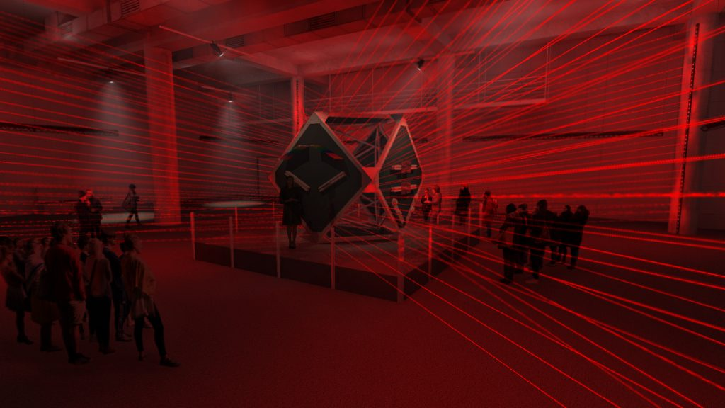 Conceptual rendering of LASERsHOW: Light, Color and Geometry