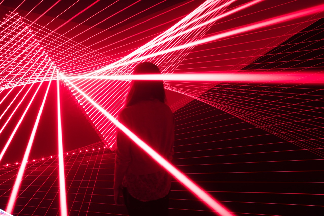 Woman in a Laser Show