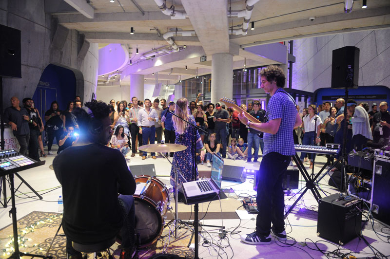 Live band performing in front of an audience