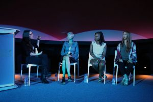 Cara Santa Maria and panel Dr. Lisa Beal, Dr. Elizabeth Reynolds Losin, & Kilan Ashad-Bishop at LIVE @ Frost Science