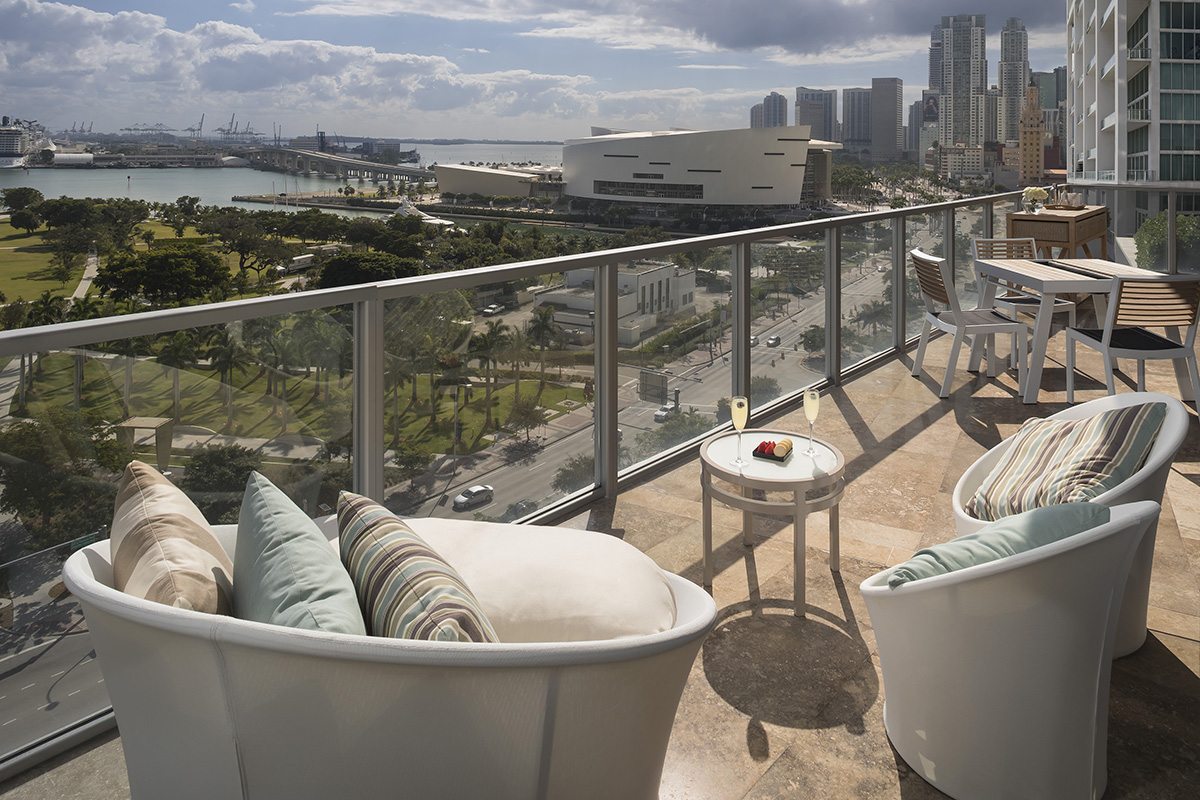 Balcony of a hotel over looking the city of Miami