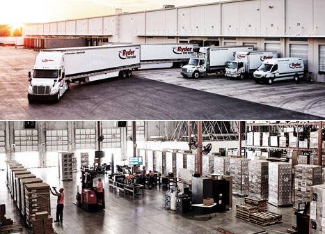 Ryder trucks parked at a loading dock and activity inside a warehouse.
