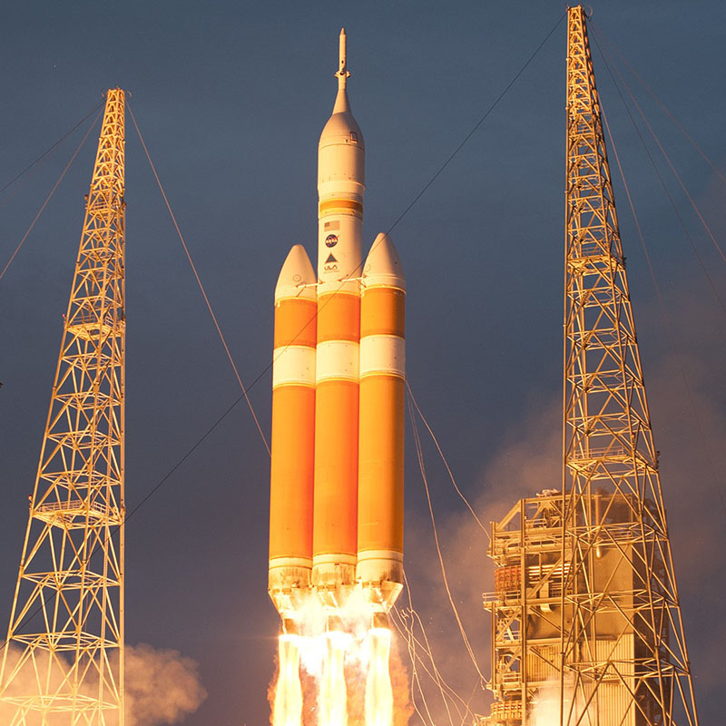 A Delta IV Heavy rocket lifts off from Space Launch Complex 37 at Cape Canaveral Air Force Station in Florida.