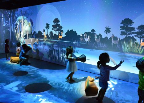 Children playing in Frost Science River of Grass exhibit.