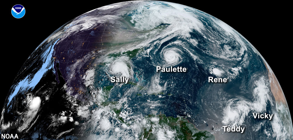 Satellite image of five named storms during the record-breaking 2020 hurricane season.