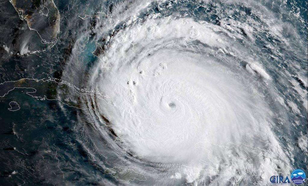 Satellite image of hurricane Irma (2017).